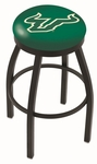 University of South Florida 25'' Black Wrinkle Finish Swivel Backless Counter Height Stool with Accent Ring [L8B2B25SOUFLA-FS-HOB]