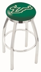 University of South Florida 25'' Chrome Finish Swivel Backless Counter Height Stool with Accent Ring [L8C2C25SOUFLA-FS-HOB]