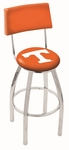 University of Tennessee 25'' Chrome Finish Swivel Counter Height Stool with Cushioned Back [L8C425TENNES-FS-HOB]