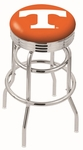 University of Tennessee 25'' Chrome Finish Double Ring Swivel Backless Counter Height Stool with Ribbed Accent Ring [L7C3C25TENNES-FS-HOB]