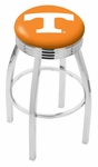 University of Tennessee 25'' Chrome Finish Swivel Backless Counter Height Stool with 2.5'' Ribbed Accent Ring [L8C3C25TENNES-FS-HOB]
