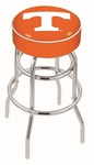 University of Tennessee 25'' Chrome Finish Double Ring Swivel Backless Counter Height Stool with 4'' Thick Seat [L7C125TENNES-FS-HOB]