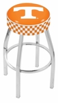 University of Tennessee 25'' Chrome Finish Swivel Backless Counter Height Stool with 4'' Thick Seat [L8C125TENNES-FS-HOB]