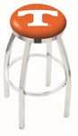 University of Tennessee 25'' Chrome Finish Swivel Backless Counter Height Stool with Accent Ring [L8C2C25TENNES-FS-HOB]