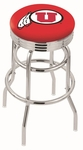 University of Utah 25'' Chrome Finish Double Ring Swivel Backless Counter Height Stool with Ribbed Accent Ring [L7C3C25UTAHUN-FS-HOB]