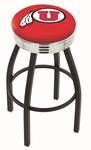 University of Utah 25'' Black Wrinkle Finish Swivel Backless Counter Height Stool with Ribbed Accent Ring [L8B3C25UTAHUN-FS-HOB]