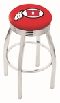 University of Utah 25'' Chrome Finish Swivel Backless Counter Height Stool with 2.5'' Ribbed Accent Ring [L8C3C25UTAHUN-FS-HOB]