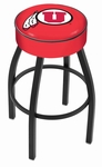 University of Utah 25'' Black Wrinkle Finish Swivel Backless Counter Height Stool with 4'' Thick Seat [L8B125UTAHUN-FS-HOB]
