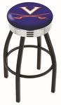 University of Virginia 25'' Black Wrinkle Finish Swivel Backless Counter Height Stool with Ribbed Accent Ring [L8B3C25VRGNIA-FS-HOB]