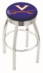 University of Virginia 25'' Chrome Finish Swivel Backless Counter Height Stool with 2.5'' Ribbed Accent Ring [L8C3C25VRGNIA-FS-HOB]