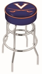 University of Virginia 25'' Chrome Finish Double Ring Swivel Backless Counter Height Stool with 4'' Thick Seat [L7C125VRGNIA-FS-HOB]