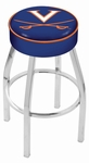 University of Virginia 25'' Chrome Finish Swivel Backless Counter Height Stool with 4'' Thick Seat [L8C125VRGNIA-FS-HOB]