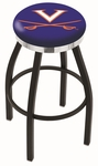 University of Virginia 25'' Black Wrinkle Finish Swivel Backless Counter Height Stool with Chrome Accent Ring [L8B2C25VRGNIA-FS-HOB]
