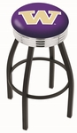 University of Washington 25'' Black Wrinkle Finish Swivel Backless Counter Height Stool with Ribbed Accent Ring [L8B3C25WASHUN-FS-HOB]