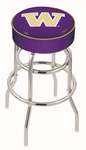 University of Washington 25'' Chrome Finish Double Ring Swivel Backless Counter Height Stool with 4'' Thick Seat [L7C125WASHUN-FS-HOB]