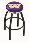 University of Washington 25'' Black Wrinkle Finish Swivel Backless Counter Height Stool with Chrome Accent Ring [L8B2C25WASHUN-FS-HOB]