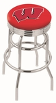 University of Wisconsin 25'' Chrome Finish Double Ring Swivel Backless Counter Height Stool with Ribbed Accent Ring [L7C3C25WISC-W-FS-HOB]