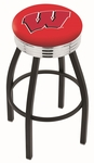 University of Wisconsin 25'' Black Wrinkle Finish Swivel Backless Counter Height Stool with Ribbed Accent Ring [L8B3C25WISC-W-FS-HOB]