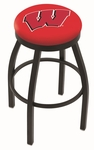 University of Wisconsin 25'' Black Wrinkle Finish Swivel Backless Counter Height Stool with Accent Ring [L8B2B25WISC-W-FS-HOB]