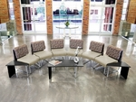 UNO Series Semi-Circle Package - Nickel Taupe Chairs and Asian Night Top Table [PKG-LNGE-01-0005-MFO]