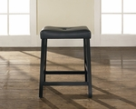 Upholstered Saddle Seat Bar Stool in Black Finish with 24'' Seat Height - Set of 2 [CF500224-BK-FS-CRO]