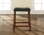 Upholstered Saddle Seat Bar Stool in Classic Cherry Finish with 24'' Seat Height - Set of 2 [CF500224-CH-FS-CRO]