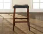 Upholstered Saddle Seat Bar Stool in Classic Cherry Finish with 29'' Seat Height - Set of 2 [CF500229-CH-FS-CRO]