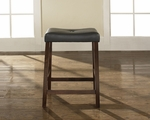 Upholstered Saddle Seat Bar Stool in Vintage Mahogany Finish with 24'' Seat Height - Set of 2 [CF500224-MA-FS-CRO]