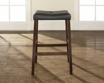 Upholstered Saddle Seat Bar Stool in Vintage Mahogany Finish with 29'' Seat Height - Set of 2 [CF500229-MA-FS-CRO]