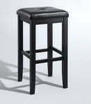 Upholstered Square Seat Bar Stool 29'' - Set of 2 [CF500529-BK-FS-CRO]