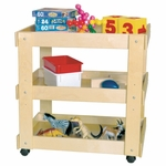 Children's Wooden Mobile Utility Cart with Shelves [13300-WDD]