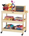 Kids Wooden Mobile Utility Cart with Shelves [2930JC-JON]