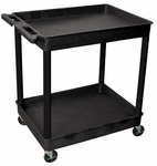 Heavy Duty Multi-Purpose Mobile Tub Utility Cart with 2 Tub Shelves - Black - 32''W x 24''D x 37.5''H [TC11-B-FS-LUX]