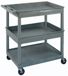 Heavy Duty 37''H Multi-Purpose Mobile Utility Cart with 1 Flat Shelf and 2 Tub Shelves [TC112-FS-LUX]