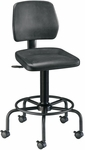 Adjustable Height Utility Stool with Backrest - Black [DC208-FS-ALV]