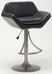 Valencia Height Adjustable Bar Stool with Black Vinyl Swivel Seat - Oyster Gray [4291-830H-FS-HILL]