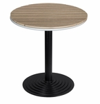 Nevada 28'' Round Gray Durawood Table Top with Valencia Round Dining Table Base - Black [SC-1401-588-SC-2401-422-GRAYTEAK-SCON]