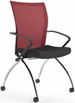 Valore High-Back Training Chair with Black Fabric Seat - Set of Two - Red Mesh Back [TSH1BR-FS-MAY]