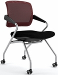 Valore Mid-Back Training Chair with Black Fabric Seat - Set of Two - Red Mesh Back [TSM2BR-FS-MAY]