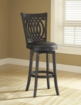 Van Draus Wood 25'' Counter Height Stool with Black Vinyl Swivel Seat - Black [4975-827-FS-HILL]
