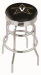 Vanderbilt University 25'' Chrome Finish Double Ring Swivel Backless Counter Height Stool with Ribbed Accent Ring [L7C3C25VANDER-FS-HOB]