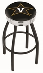 Vanderbilt University 25'' Black Wrinkle Finish Swivel Backless Counter Height Stool with Ribbed Accent Ring [L8B3C25VANDER-FS-HOB]