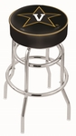 Vanderbilt University 25'' Chrome Finish Double Ring Swivel Backless Counter Height Stool with 4'' Thick Seat [L7C125VANDER-FS-HOB]
