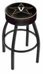 Vanderbilt University 25'' Black Wrinkle Finish Swivel Backless Counter Height Stool with 4'' Thick Seat [L8B125VANDER-FS-HOB]