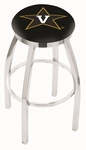 Vanderbilt University 25'' Chrome Finish Swivel Backless Counter Height Stool with Accent Ring [L8C2C25VANDER-FS-HOB]