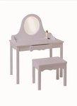 American Made Classic Vanity and Bench Set with Non Shatter Mirror - Lavender [04729-LAV-FS-LC]