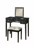 Vanity Set w/ Butterfly Bench - Black [98135BLKX-01-KD-U-FS-LIN]