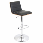 Vasari Bar Stool in Walnut and Black [BS-JY-VSR-WL-BK-FS-LUMI]