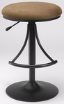 Venus Height Adjustable Backless Bar Stool with Bear Fabric Swivel Seat - Black [4209-830H-FS-HILL]