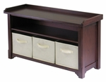 Verona Storage Hall Bench with Beige Baskets [94801-FS-WWT]